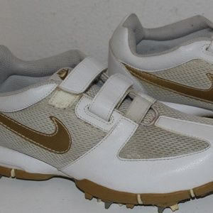Woman's Nike Golf Shoes Gold & White Size 5.5